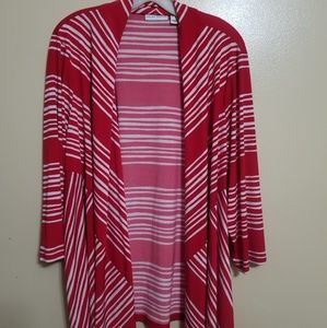 Susan Graver Red and White Cardigan